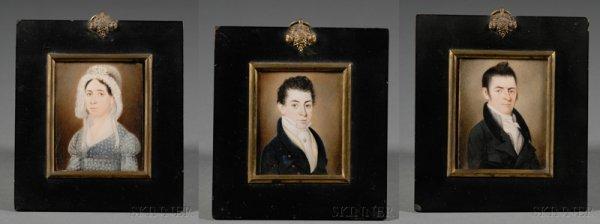 6: Three Related Family Portrait Miniatures, Massachuse
