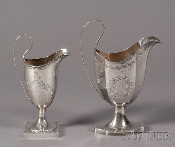 13: Two Silver Creamers, America, late 18th/early 19th