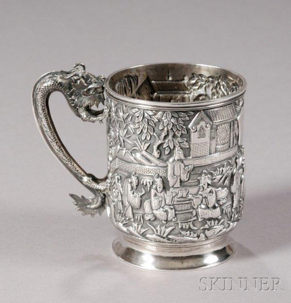 17: Chinese Export Silver Mug, c. 1850, the mug decorat
