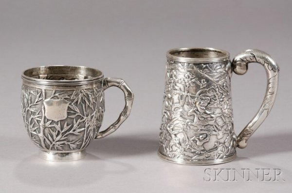 20: Two Chinese Export Silver Mugs, c. 1850, one with t