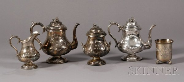 21: Four-Piece Coin Silver Tea and Coffee Service and a