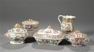 156 Five Chinese Export Porcelain Table Items 19th ce