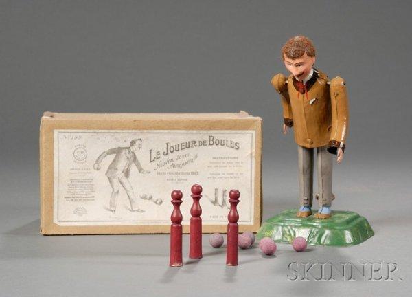 """596: Martin """"Le Joueur De Boules"""" Painted Tin Bowler To"""