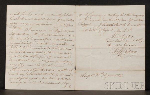 1: Adam, Robert (1728-1792), Autograph letter signed, A