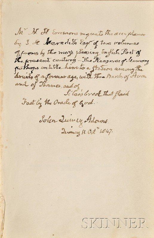 3: (Adams, John Quincy, 1767-1848), Presentation Copy,