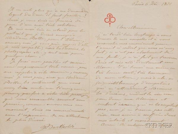 12: Bartholdi, Frederic A. (1834-1904), Autograph lette