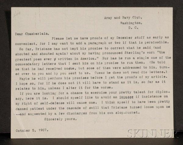13: Bierce, Ambrose (1842-1914?), Signed letter, Octobe