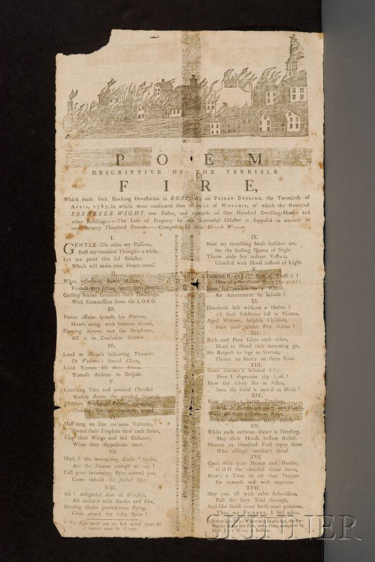 15: (Boston History, 18th Century), Broadside sheet, wr