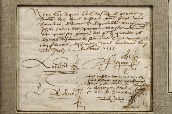 18: Calvin, John (1509-1564), Autograph letter signed,