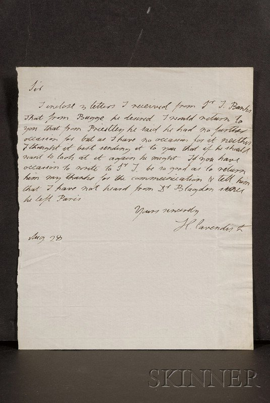 19: Cavendish, Henry (1731-1810), Autograph letter sign