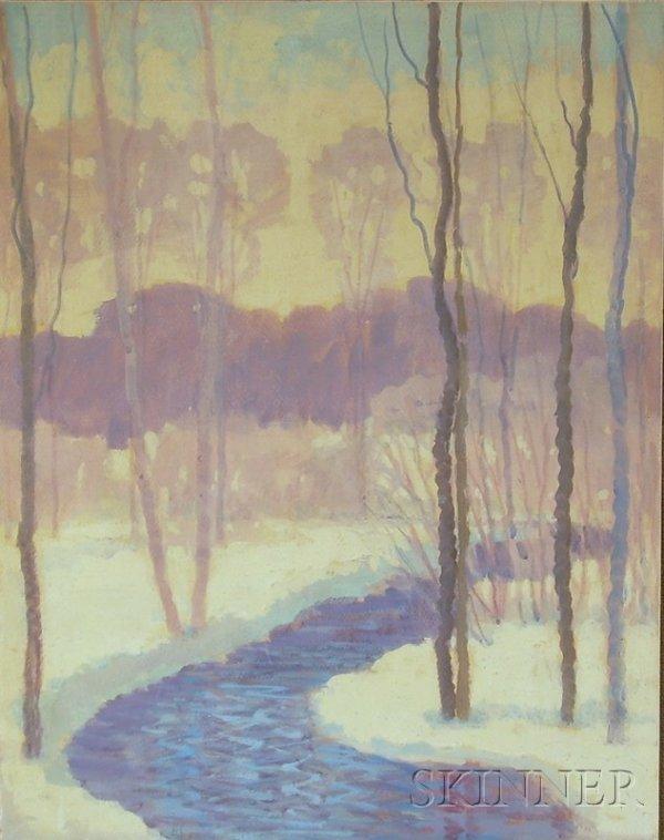 "3: Framed Winter Landscape, initialed ""H.S."" l.l., goua"
