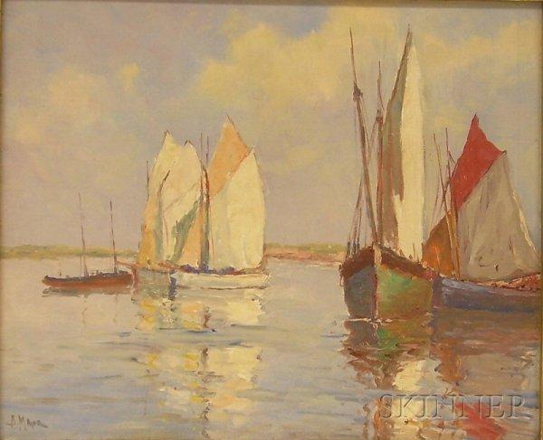 4: Framed Oil on Board Scene of Ships in a Harbor, sign