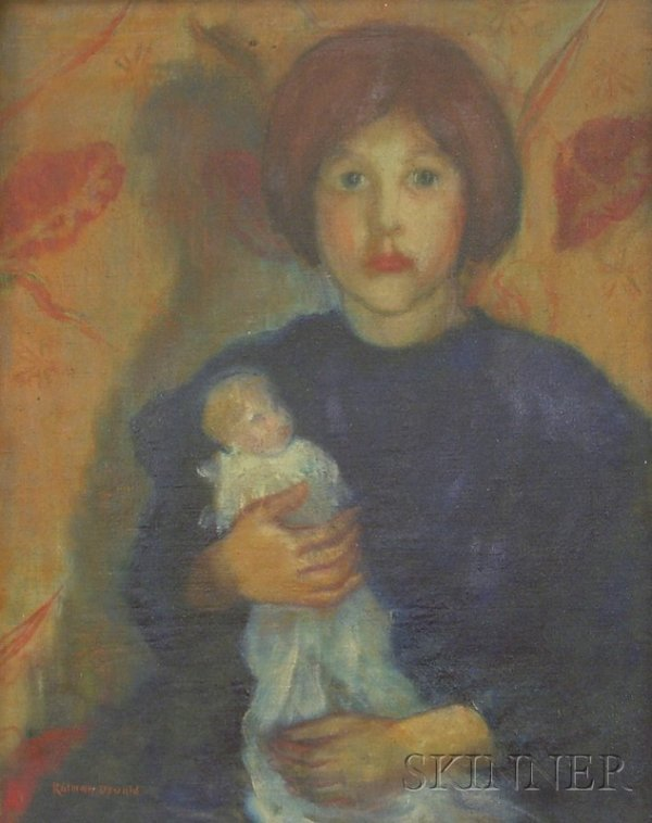 6: Framed Oil on Canvas Portrait of a Girl with Her Dol