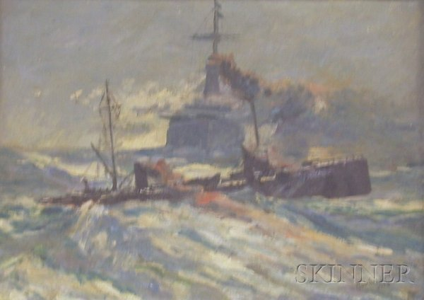 9: Framed Oil on Board Marine Scene Attributed to Laszl