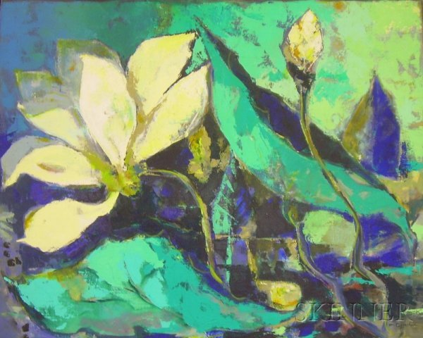 10: Framed Oil on Canvas Abstract Floral Composition, i
