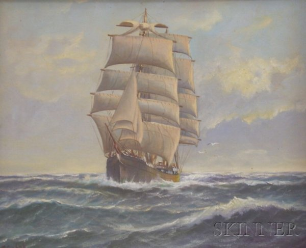 12: Framed Oil on Canvas View of a Sailing Vessel at Fu
