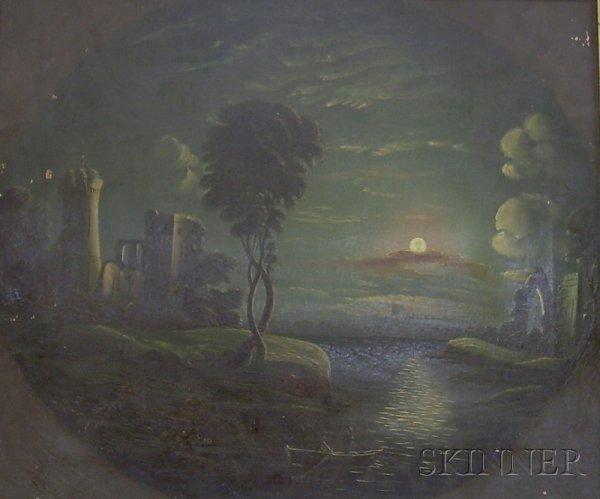 13: American School, 19th Century Two Naive Moonlit Lan