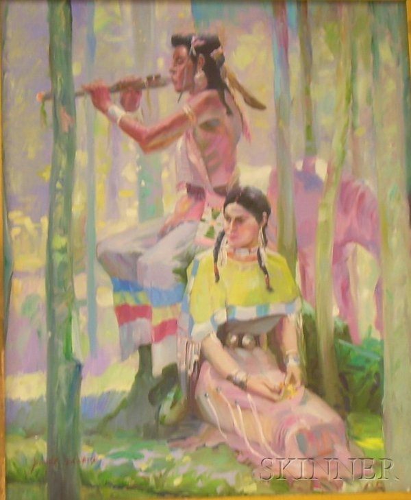 15: Framed Oil on Canvas Scene with Two Native American