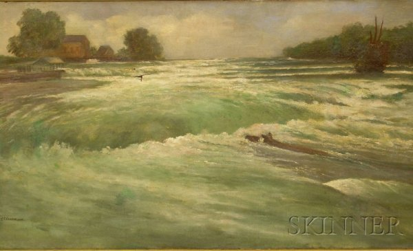 """15A: Framed Oil on Canvas of Rapids, signed and dated """""""