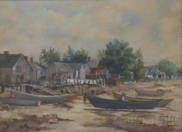 17: Framed American School Oil on Canvas Beach View wit