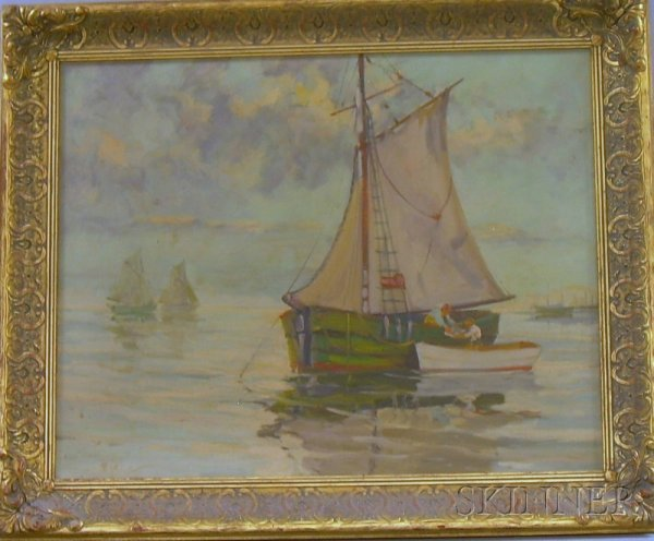 20: Framed American School Oil on Canvas Harbor View, i