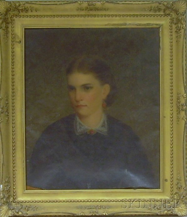 21: Framed American School Oil on Canvas Portrait of a