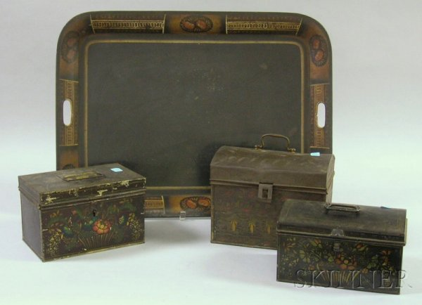 501: Three Painted Tin Document Boxes and a Painted and