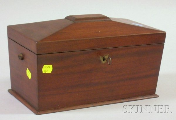 508: Mahogany Casket-form Tea Caddy, with divided inter