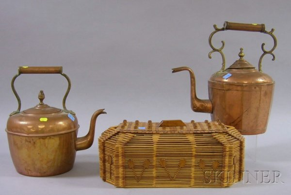 509: Two Brass-mounted Copper Hot Water Kettles and a T