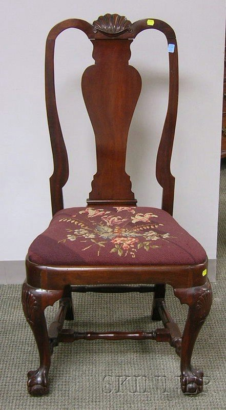 514: Chippendale Carved Mahogany Side Chair with Needle