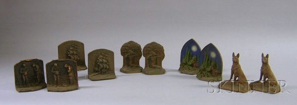 517C: Five Pairs of Painted and Patinated Cast Iron Fig