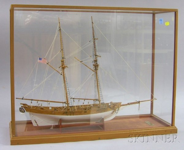 1060: Cased Carved and Painted Wooden Two-masted Sailin
