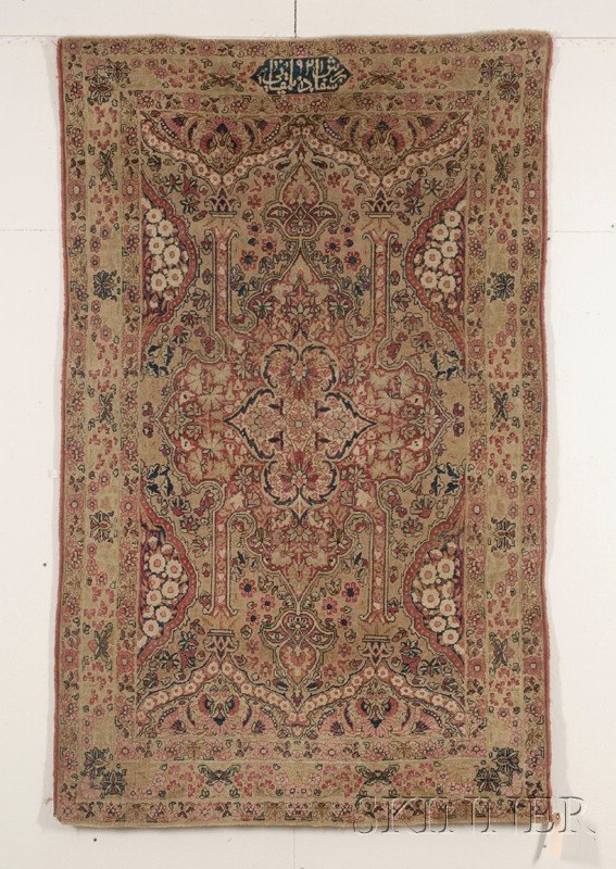 17: Kerman Rug, Southeast Persia, dated 1878, (even wea
