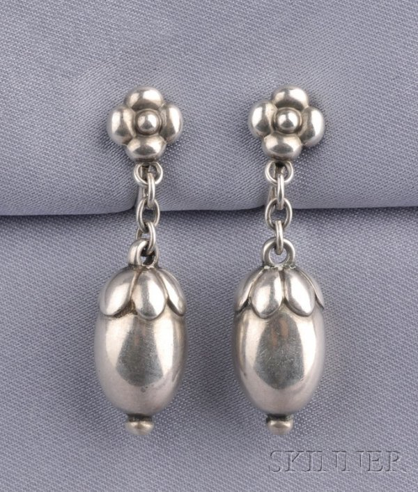 2: Sterling Silver Earpendants, Georg Jensen, designed