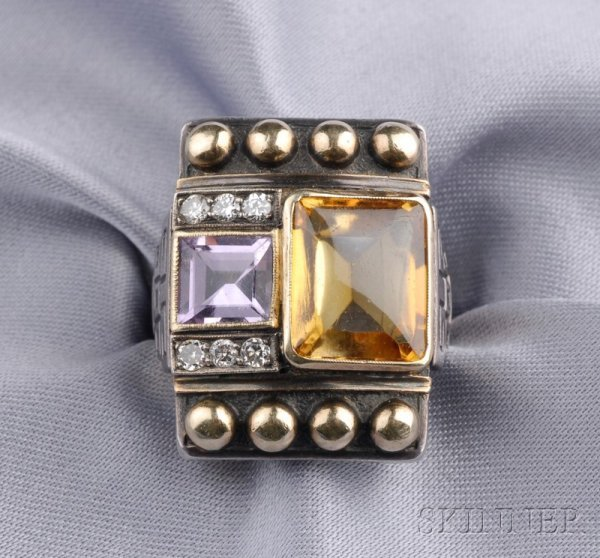 8: Silver Gem-set Ring, Cozzolino, c. 1930s, set with a