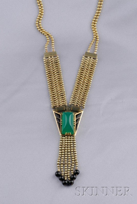 9: 14kt Gold, Enamel, and Onyx Necklace, composed of mu