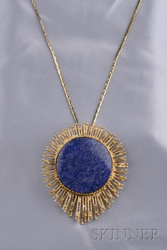 13: 14kt Gold and Lapis Pendant, Grosse, Pforzheim, c.