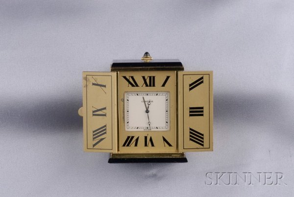 22: Onyx Travel Clock, Must de Cartier, the gilt-metal