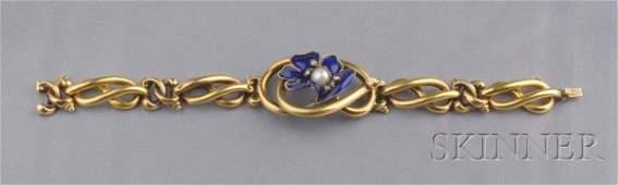 230: Antique 14kt Gold, Enamel, and Diamond Bracelet, t