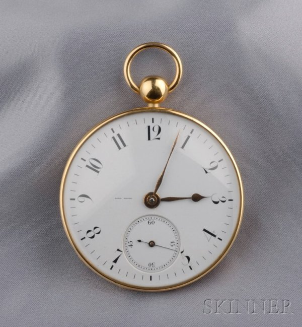 245: Antique 18kt Gold Open Face Pocket Watch, Esprit B