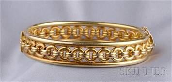 391: Antique 14kt Gold Bangle Bracelet, the hinged form