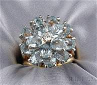 597 18kt Gold Aquamarine and Diamond Ring Cartier