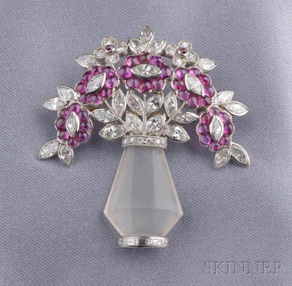 702: Art Deco Platinum, Rock Crystal, Ruby, and Diamond