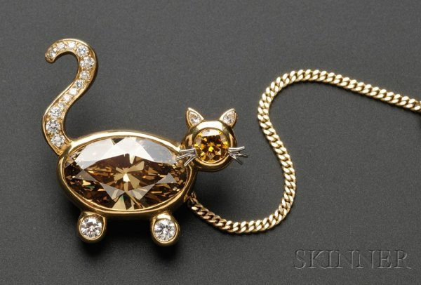 721: 18kt Gold, Colored Diamond, and Diamond Brooch, de