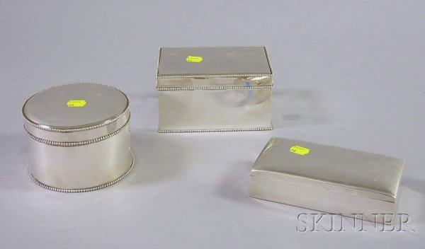 7: Three Sterling Boxes, Smith & Smith rectangular ster