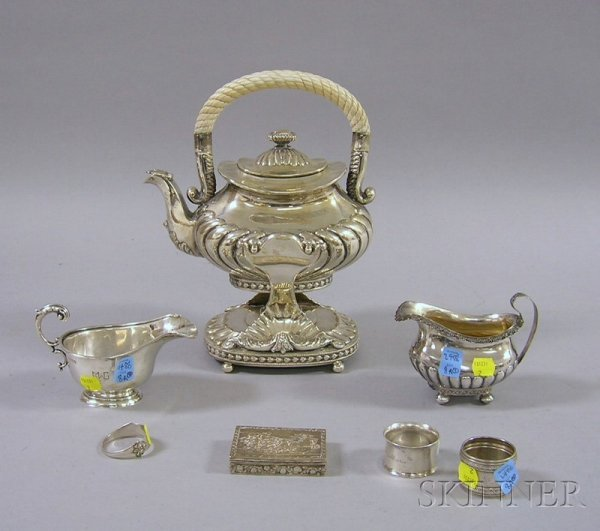8A: Seven Pieces of Silver and Silver Plate Serving and