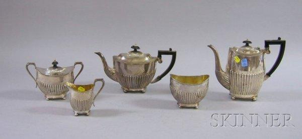 9: Five-piece Georgian-style Silver Plate Tea Set, two