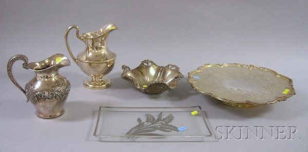 18: Group of Five Silver Plated Serving Pieces, a Reed