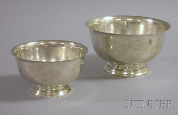 19: Two Gorham Sterling Revere-type Bowls, approx. 28 t