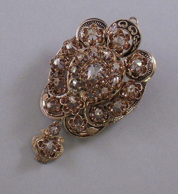 365: Victorian Gold, Enamel, and Diamond Pendant/Brooch